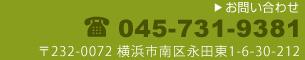 電話045-731-9381〒232-0072 横浜市南区永田東1-6-30-212
